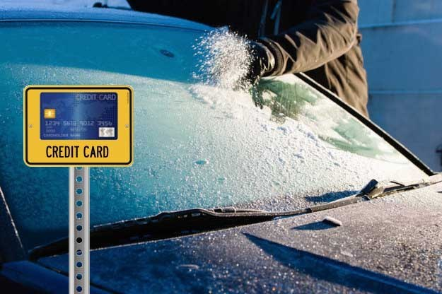 Credit card as ice scraper